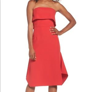 Chelsea28 Red Ruffle Popover Dress Size 12